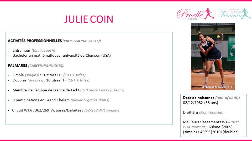 Julie Coin tennis pro