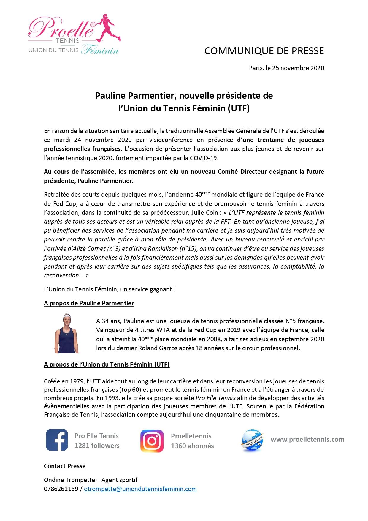 Pauline Parmentier tennis pro